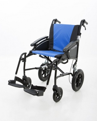 Excel G-Logic Lightweight Transit Wheelchair 20'' Black Frame and Blue Upholstery Wide Seat