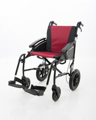 Excel G-Logic Lightweight Transit Wheelchair 20'' Black Frame and Red Upholstery Wide Seat