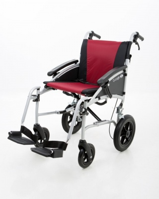 Excel G-Logic Lightweight Transit Wheelchair 18'' Silver Frame and Red Upholstery Standard Seat