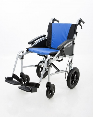 Excel G Logic Lightweight Transit Wheelchair 16'' Silver Frame Blue Upholstery Slim Seat
