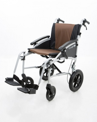 Excel G-Logic Lightweight Transit Wheelchair 16'' Silver Frame and Brown Upholstery Slim Seat