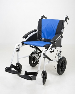 Excel G-Logic Lightweight Transit Wheelchair 20'' White Frame and Blue Upholstery Wide Seat
