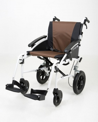 Excel G-Logic Lightweight Transit Wheelchair 20'' White Frame and Brown Upholstery Wide Seat
