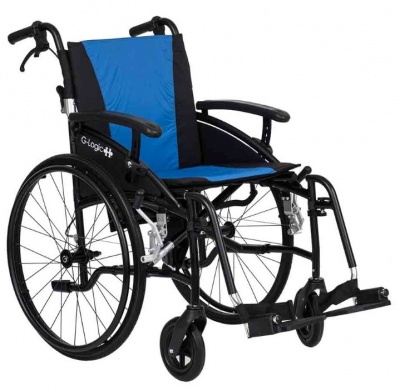 Excel G-Logic Lightweight Self Propelled Wheelchair 18'' Black Frame and Blue Upholstery Standard Seat