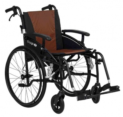 Excel G-Logic Lightweight Self Propelled Wheelchair 20'' Black Frame and Brown Upholstery Wide Seat