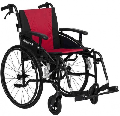 Excel G-Logic Lightweight Self Propelled Wheelchair 18'' Black Frame and Red Upholstery Standard Seat