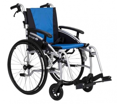 Excel G Logic Lightweight Self Propelled Wheelchair 16'' Silver Frame Blue and Black Upholstery Slim Seat