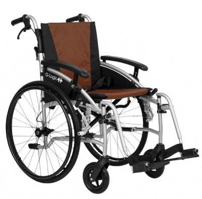 Excel G-Logic Lightweight Self Propelled Wheelchair 18'' Silver Frame and Brown Upholstery Standard Seat