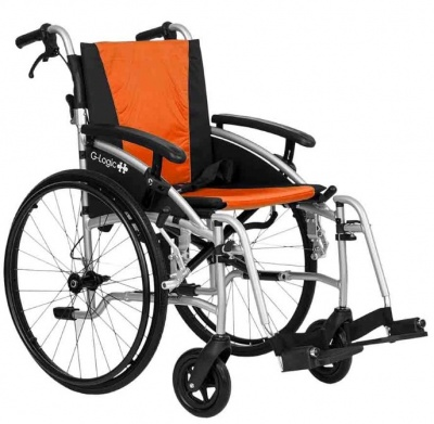 Excel G-Logic Lightweight Self Propelled Wheelchair 20'' Silver Frame and Orange Upholstery Wide Seat