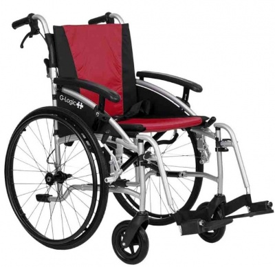 Excel G-Logic Lightweight Self Propelled Wheelchair 16'' Silver Frame and Red Upholstery Slim Seat