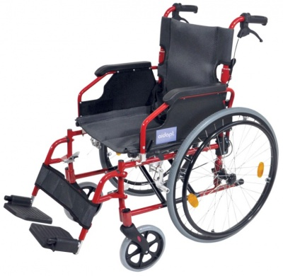 A* Deluxe Lightweight Self Propelled Aluminium Wheelchair Red Frame