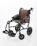 Excel G-Logic Lightweight Transit Wheelchair 20'' Black Frame and Brown Upholstery Wide Seat