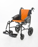 Excel G-Logic Lightweight Transit Wheelchair 20'' Black Frame and Orange Upholstery Wide Seat