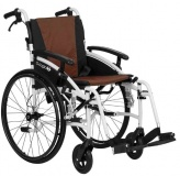 Excel G-Logic Lightweight Self Propelled Wheelchair 16'' White Frame and Brown Upholstery Slim Seat