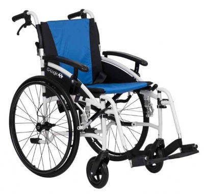 Excel G-Logic Lightweight Self Propelled Wheelchair 20'' White Frame and Blue Upholstery Wide Seat