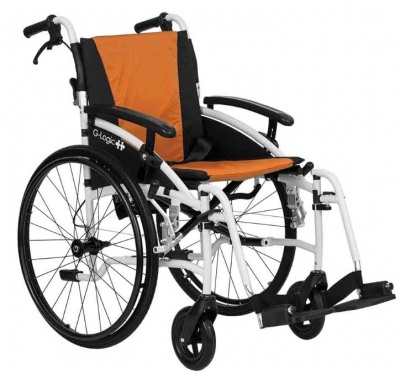 Excel G-Logic Lightweight Self Propelled Wheelchair 18'' White Frame and Orange Upholstery Standard Seat