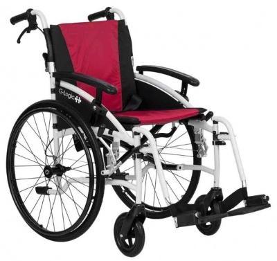 Excel G-Logic Lightweight Self Propelled Wheelchair 18'' White Frame and Red Upholstery Standard Seat